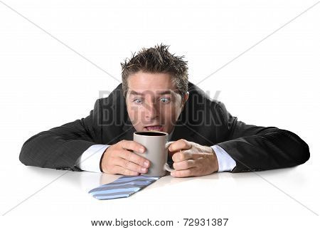 Young Addict Business Man Holding Cup Of Coffee Crazy In Caffeine Addiction