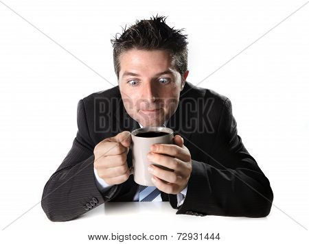 Addict Business Man In Suit And Tie Holding Cup Of Coffee Anxious And Crazy In Caffeine Addiction