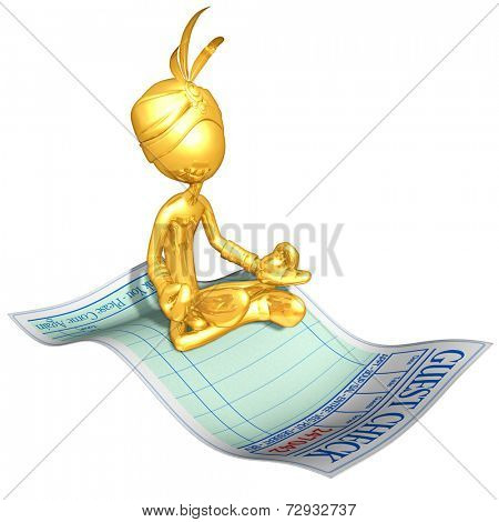 Gold Guy Djinn On Restaurant Guest Check Magic Carpet