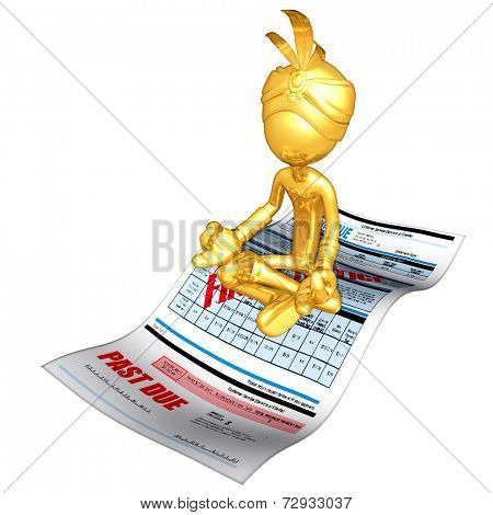 Gold Guy Djinn On Past Due Bill Magic Carpet