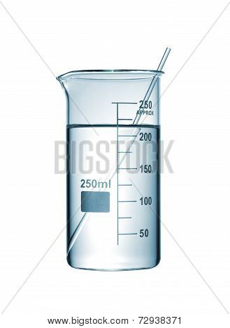 Chemical Beaker With A Solution And Stirring Rod On White Background