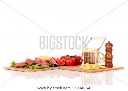 Hamburgers, Tomatoes, Fries