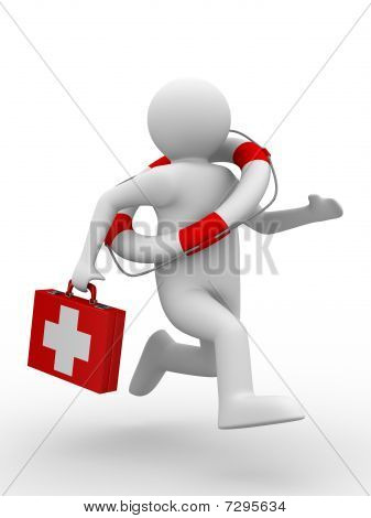 Doctor Runs To Aid. Isolated 3D Image