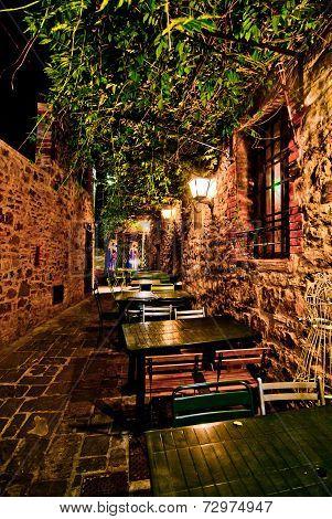 Romantic Dinner In Small Italian Restaurant