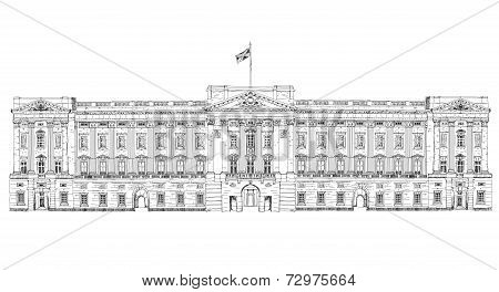 Sketch collection of famous buildings. London, Buckingham palace poster
