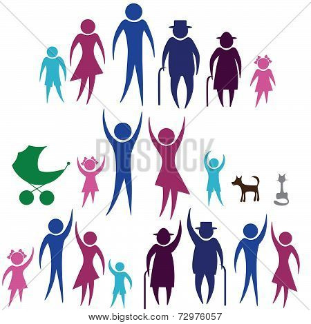 Person vector woman, man family mambers