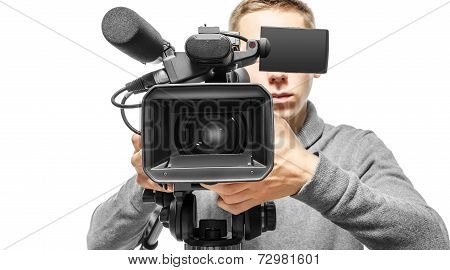 Video camera operator working with his professional equipment isolated on white background poster