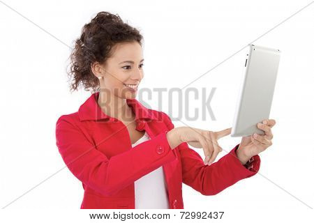 Young woman holding tablet computer