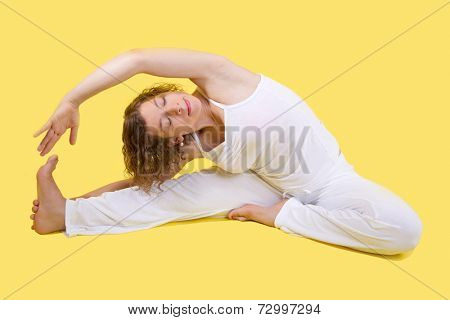 Caucasian woman making yoga exersize