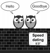 Monochrome comical speed dating sign on brick wall isolated on white background poster