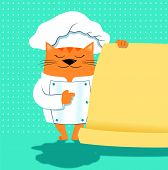 A cat chef in cartoon style indicates a menu that I left empty so that one can write on it poster