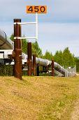 Looking down a long length of the Trans-Alaska oil pipeline near Fairbanks ALsaka USA poster