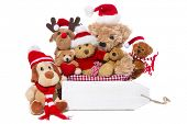 Christmas, teddy bears isolated on white background - concept for team, friends or teamwork poster
