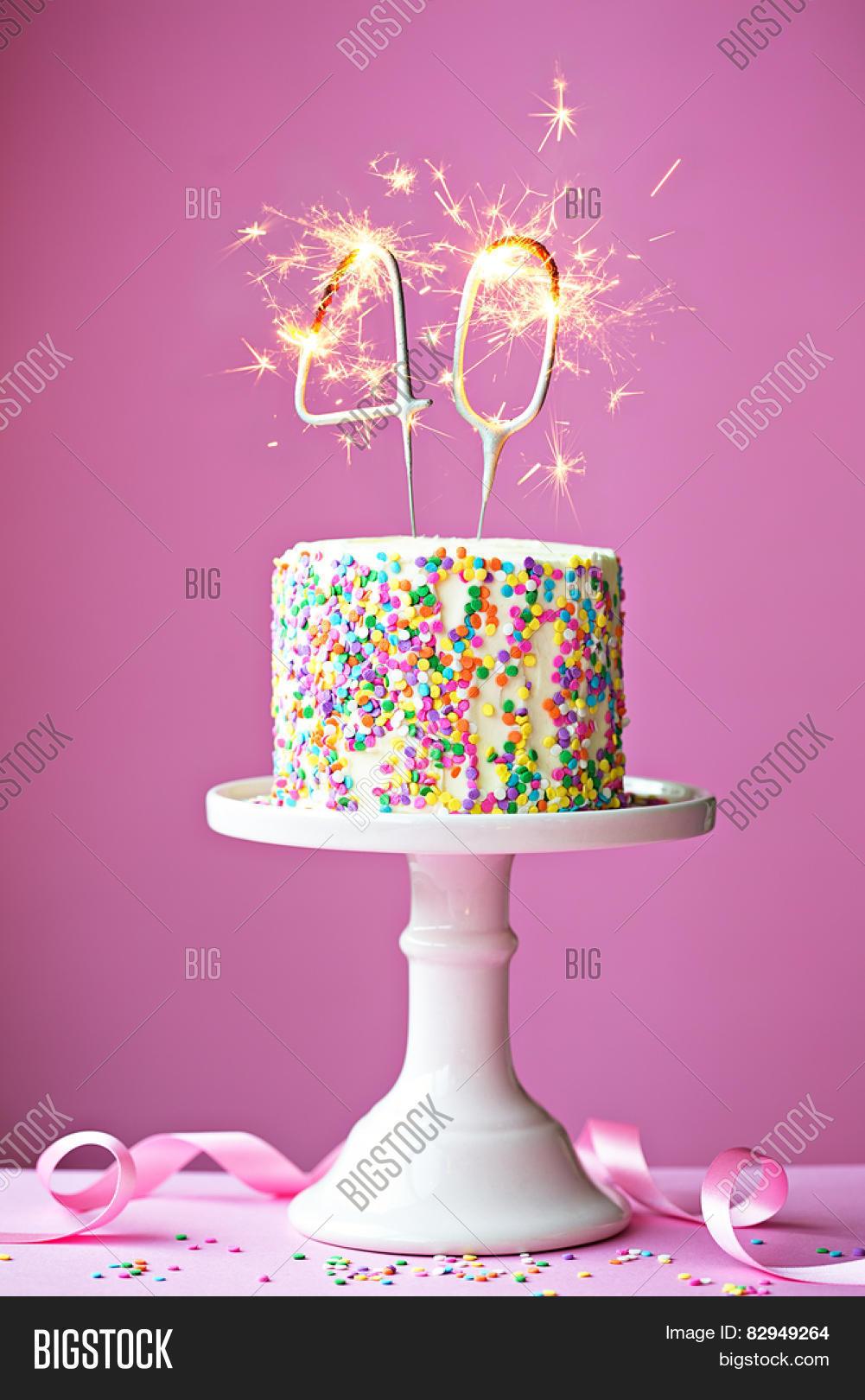40th Birthday Cake Image Photo Free Trial Bigstock
