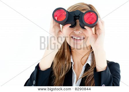 Animated Businesswoman Looking Through Binoculars