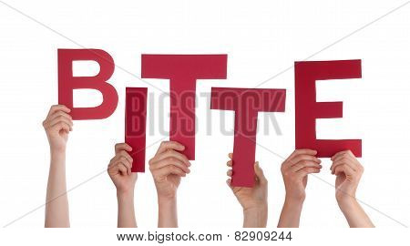 Many Caucasian People And Hands Holding Red Letters Or Characters Building The Isolated German Word Bitte Which Means Please On White Background poster