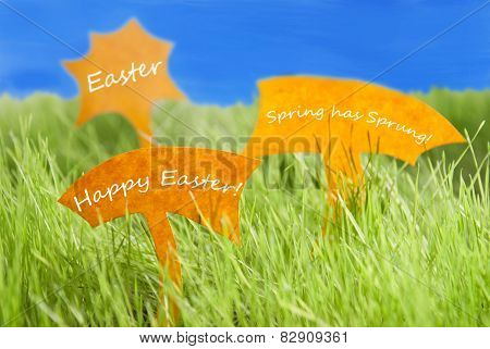 Three Labels With Happy Easter And Blue Sky