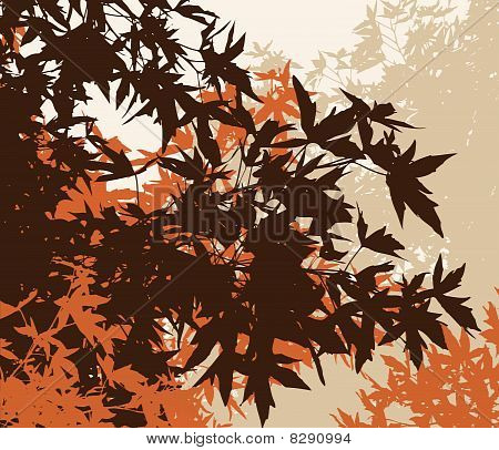 Colored landscape of autumn brown foliage - Vector illustration