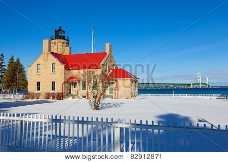 Old Mackinac Point Lighthouse In Winter