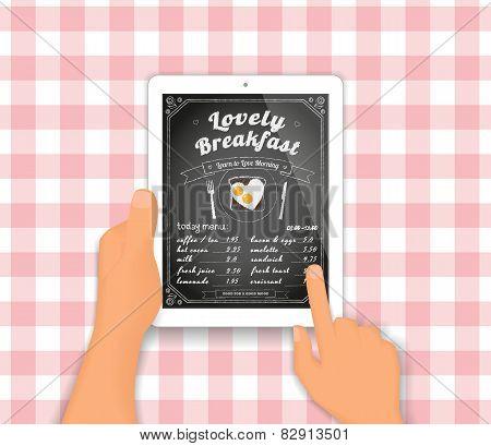 Breakfast menu on the tablet pc