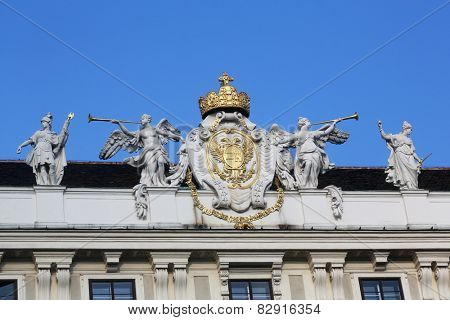 VIENNA, AUSTRIA - OCTOBER 10: Architectural artistic decorations on Hofburg palace. Hofburg was residence of Habsburg dynasty, rulers of Austro-Hungarian Empire. Vienna, Austria on October 10, 2014.