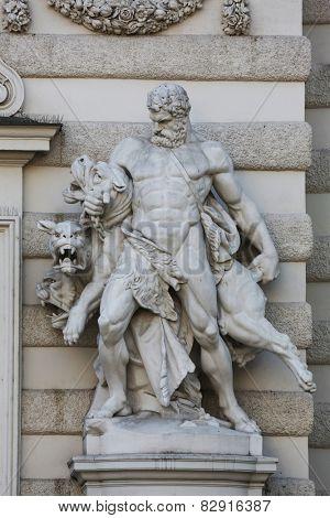 VIENNA, AUSTRIA - OCTOBER 10: Hercules and Cerberus, Hofburg in Vienna, Austria on October 10, 2014.