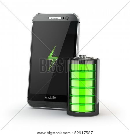 Mobile phone charging concept. Smartphone and battery charge indicator. 3d