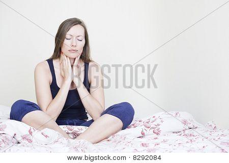 Beautiful woman suffering from sore throat
