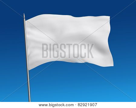 White flag template on sky, with clipping path
