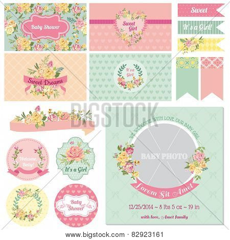 Scrapbook Design Elements - Baby Shower Flower Theme - in vector poster