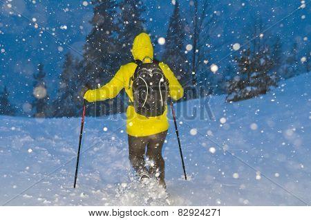 Running In A Snowstorm Winter Night