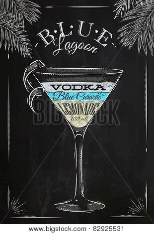 Blue lagoon cocktail chalk