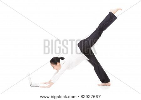 Young Office Woman In Yoga Pose Holding Laptop On White Background