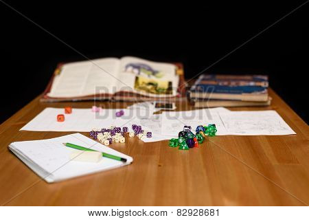 Role Playing Game Set Up On Table Isolated On Black Background