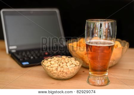 Open Notebook With Unhealthy Snack Isolated On Black Background