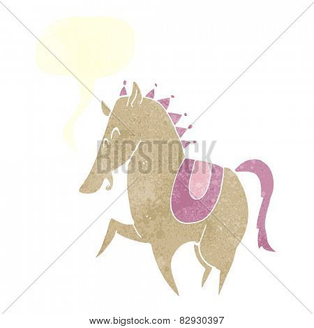 cartoon prancing horse with speech bubble