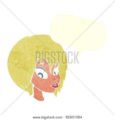 cartoon pretty female face pouting with speech bubble poster