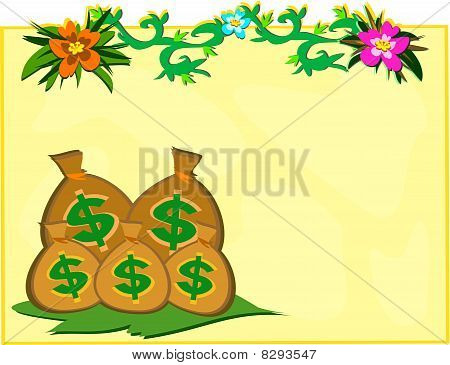 Money Bags with Vines and Flowers
