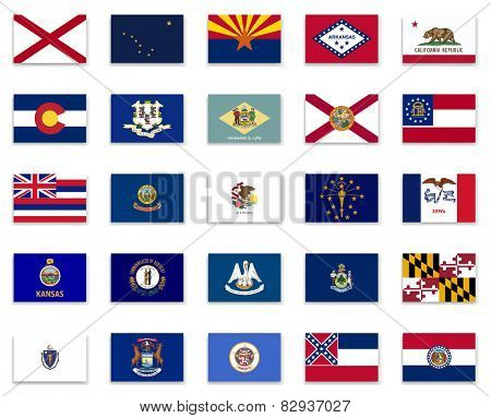 Usa State Button Flag Collection-Part 1
