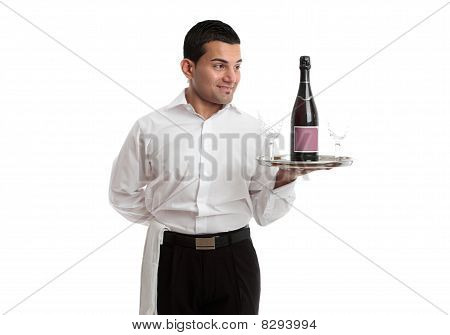 Waiter Or Servant Looking At Wine Product