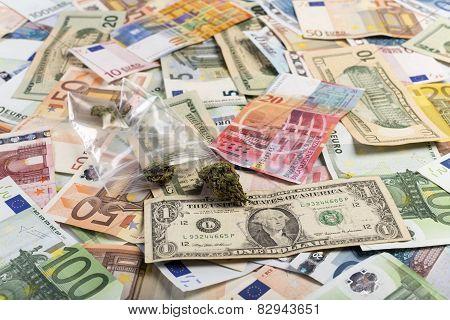 Mixed Currency And Medicinal Marijuana