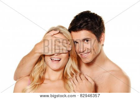 couple has fun and joy. love, eroticism and tenderness in everyday life. poster