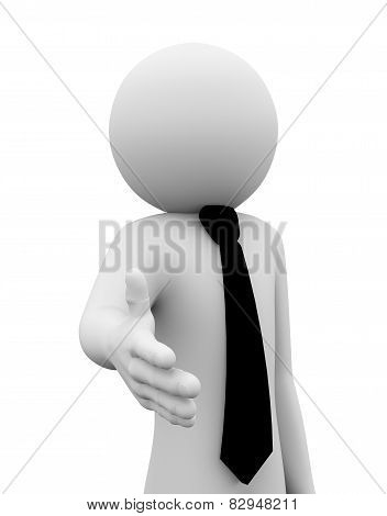3D Businessman Offer Hand Shake Illustration
