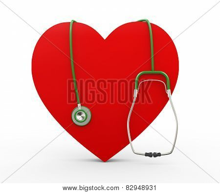 3D Heart And Stethoscope Illustration