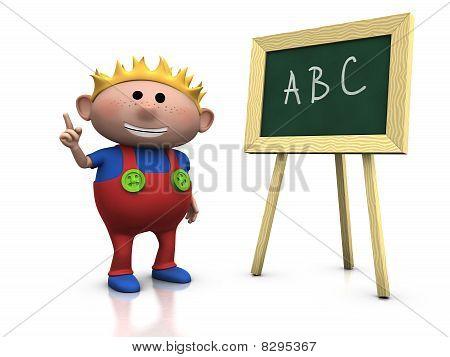 Blond Boy With Blackboard