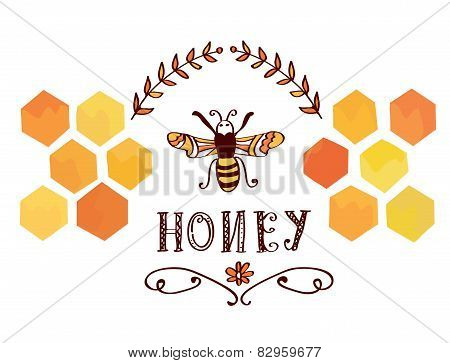 Honey label with bee and cells