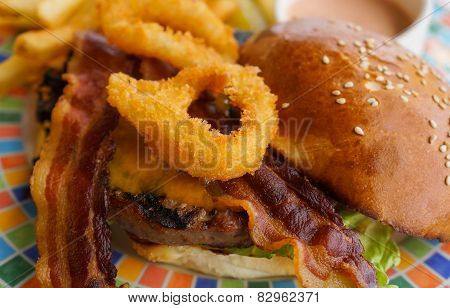Bacon Cheeseburger with Onion Rings