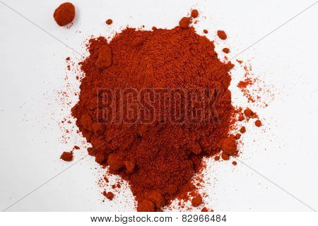 Heap Of Red Pepper Powder Isolated On White Background