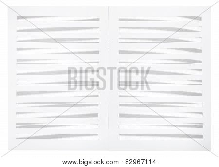 Blank Double Pages Of Music Book