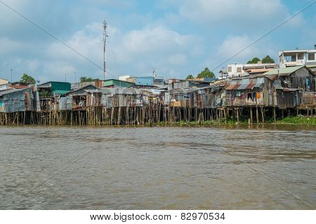 House On The Banks Of The Mekong River, Vietnam